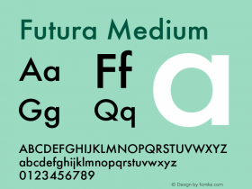 Futura-Med Version 1.000;PS 1.00;hotconv 1.0.57;makeotf.lib2.0.21895图片样张
