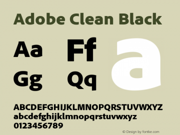 Adobe Clean Black Regular Version 5.215;PS Version 2.000;hotconv 1.0.73;makeotf.lib2.5.5900图片样张