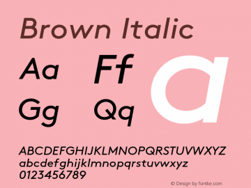 Brown-RegularItalic 001.000图片样张