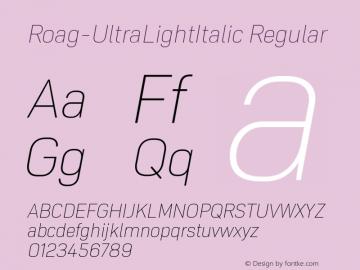Roag W05 UltraLight Italic Version 1.00图片样张