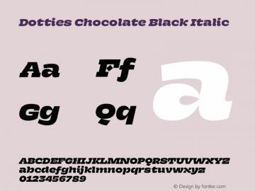 Dotties Chocolate Black Italic Version 1.000;Dotties Chocolate图片样张