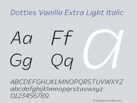 Dotties Vanilla Extra Light Italic Version 1.000;Dotties Chocolate图片样张