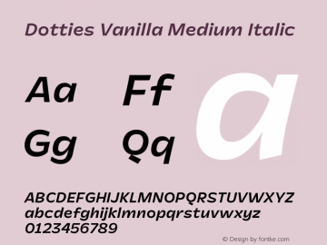 Dotties Vanilla Medium Italic Version 1.000;Dotties Chocolate图片样张