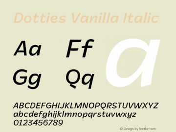 Dotties Vanilla Regular Italic Version 1.000;Dotties Chocolate图片样张