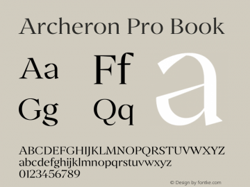 Archeron Pro Book Version 1.000;hotconv 1.0.109;makeotfexe 2.5.65596图片样张