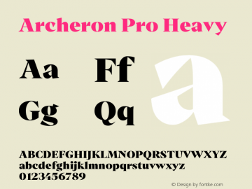 Archeron Pro Heavy Version 1.000;hotconv 1.0.109;makeotfexe 2.5.65596图片样张