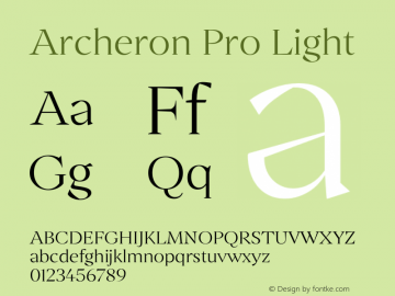 Archeron Pro Light Version 1.000;hotconv 1.0.109;makeotfexe 2.5.65596图片样张