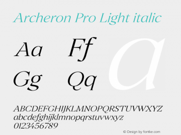 Archeron Pro Light italic Version 1.000;hotconv 1.0.109;makeotfexe 2.5.65596图片样张