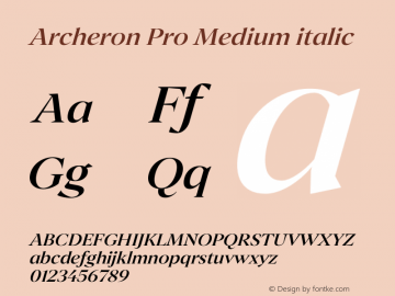 Archeron Pro Medium italic Version 1.000;hotconv 1.0.109;makeotfexe 2.5.65596图片样张
