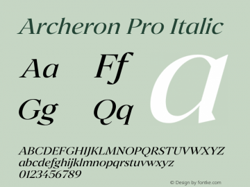 Archeron Pro Regular italic Version 1.000;hotconv 1.0.109;makeotfexe 2.5.65596图片样张