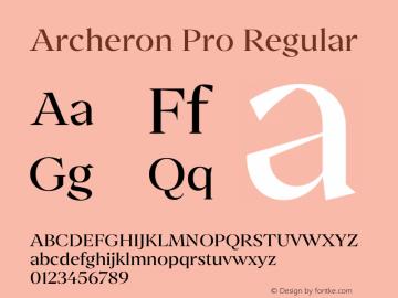 Archeron Pro Regular Version 1.000;hotconv 1.0.109;makeotfexe 2.5.65596图片样张