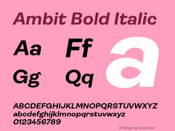 Ambit-BoldItalic Version 1.020;hotconv 1.0.109;makeotfexe 2.5.65596图片样张