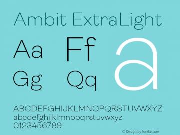 Ambit-ExtraLight Version 1.020;hotconv 1.0.109;makeotfexe 2.5.65596图片样张