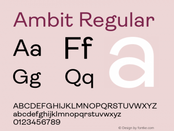 Ambit-Regular Version 1.020;hotconv 1.0.109;makeotfexe 2.5.65596图片样张