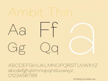 Ambit Thin Version 1.020;hotconv 1.0.109;makeotfexe 2.5.65596图片样张