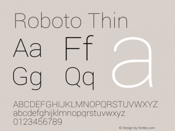 Roboto Thin Version 1.100150; 2012; Build 20130528 for 4.2 Font Sample