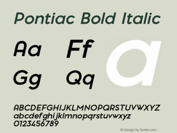 Pontiac-BoldItalic Version 1.00图片样张
