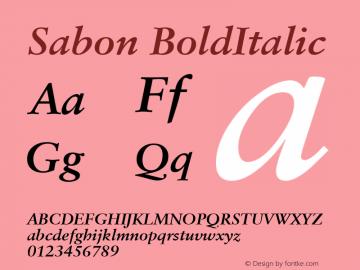 Sabon BoldItalic Macromedia Fontographer 4.1 4/11/2000图片样张