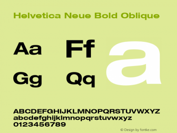 Helvetica 73 Bold Extended Oblique Version 001.000图片样张