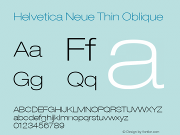 Helvetica 33 Thin Extended Oblique Version 001.000图片样张