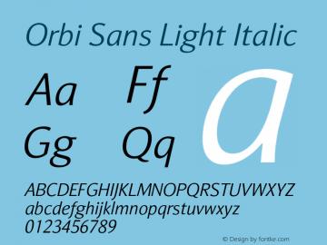 Orbi Sans Light Italic Version 1.000图片样张