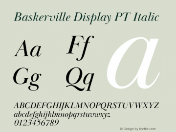BaskervilleDisplayPT-Italic Version 1.000图片样张