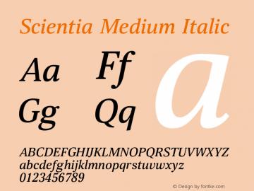 Scientia-MediumItalic Version 1.001图片样张