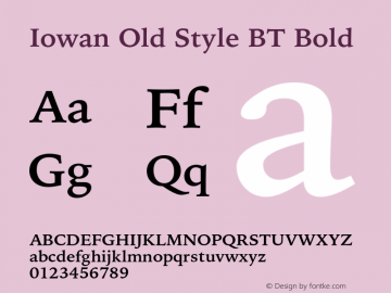 IowanOldStyleBT-Bold Version 1.000 | wf-rip DC20170225图片样张