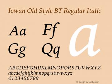 IowanOldStyleBT-Italic Version 1.000 | wf-rip DC20170225图片样张