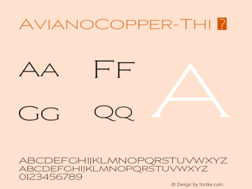 ☞Aviano Copper Thin Version 2.000;com.myfonts.easy.insigne.aviano-copper.thin.wfkit2.version.57nX图片样张