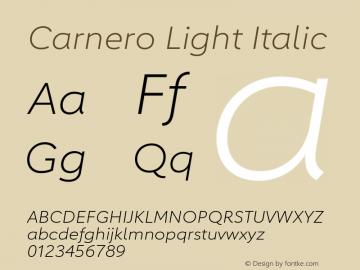 Carnero-LightItalic Version 1.10, build 11, s3图片样张