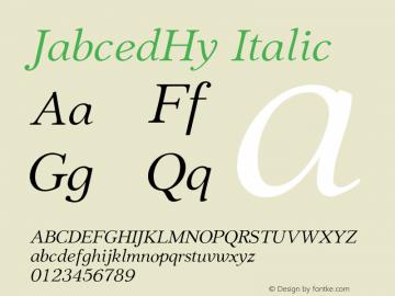 JabcedHy-Italic Version 1.06图片样张