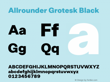 Allrounder Grotesk Black Version 1.000;hotconv 1.0.109;makeotfexe 2.5.65596图片样张