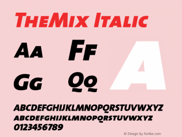 TheMix Italic 1.0 Font Sample