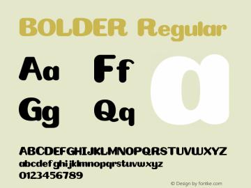 BOLDER Version 1.00;January 14, 2020;FontCreator 11.5.0.2422 64-bit Font Sample
