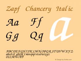 Zapf Chancery Italic Version 1.00 November 25, 2016, initial release图片样张