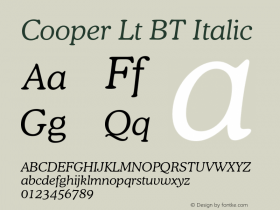 Cooper Lt BT Italic Version 1.000 2005 initial release图片样张