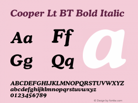Cooper Lt BT Bold Italic Version 1.000 2005 initial release图片样张