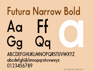 Futura Narrow Bold Converted from t:\FUTB.TF1 by ALLTYPE Font Sample