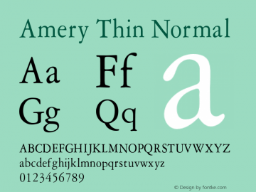 AmeryThinNormal Altsys Fontographer 4.1 1/30/95 {DfLp-URBC-66E7-7FBL-FXFA}图片样张