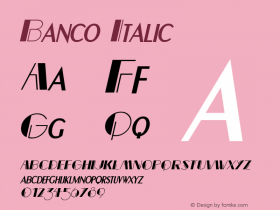 BancoItalic Altsys Fontographer 4.1 12/22/94 {DfLp-URBC-66E7-7FBL-FXFA}图片样张
