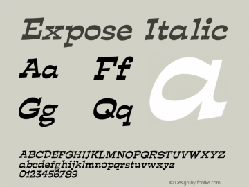 ExposeItalic Altsys Fontographer 4.1 12/29/94 {DfLp-URBC-66E7-7FBL-FXFA}图片样张