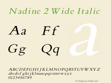 Nadine2WideItalic Version 1.000;PS 001.001;hotconv 1.0.38 {DfLp-URBC-66E7-7FBL-FXFA}图片样张