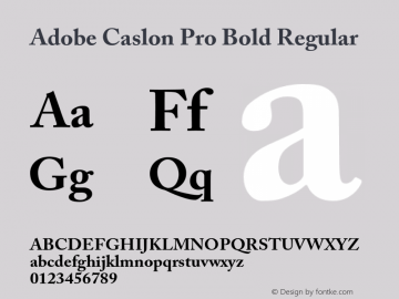 Adobe Caslon Pro Bold Regular OTF 1.009;PS 001.000;Core 1.0.27;makeotf.lib1.3.1 Font Sample