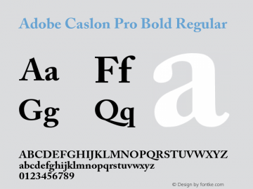 Adobe Caslon Pro Bold Regular OTF 1.012;PS 001.000;Core 1.0.30;makeotf.lib1.4.1030 Font Sample