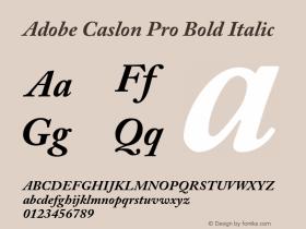 Adobe Caslon Pro Bold Italic OTF 1.012;PS 001.000;Core 1.0.30;makeotf.lib1.4.1030 Font Sample