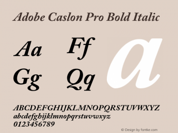 Adobe Caslon Pro Bold Italic OTF 1.012;PS 001.000;Core 1.0.30;makeotf.lib1.4.1030 Font Sample