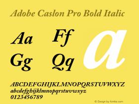 Adobe Caslon Pro Bold Italic Version 2.015;PS 002.000;hotconv 1.0.51;makeotf.lib2.0.18671 Font Sample