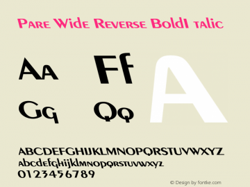 PareWideReverseBoldItalic Altsys Fontographer 4.1 1/9/95 {DfLp-URBC-66E7-7FBL-FXFA}图片样张