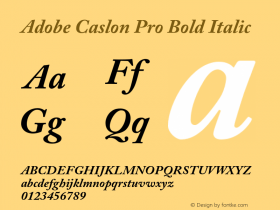 Adobe Caslon Pro Bold Italic Version 2.059;PS 2.000;hotconv 1.0.57;makeotf.lib2.0.21895 Font Sample